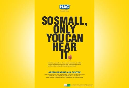 hac hearing aid centre print advertising chennai by alter ego communications