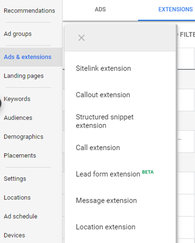 On Google ads, go to the Ads & Extension tab then click Form Lead Extensions
