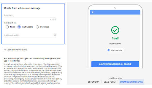 Then create form submission message, where you can type in your description